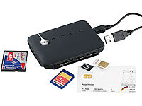 c-enter Multi-Card und SIM-Reader mit aktivem USB-2.0-Hub, 3 Ports; Card-Reader und USB-Sticks Card-Reader und USB-Sticks Card-Reader und USB-Sticks Card-Reader und USB-Sticks